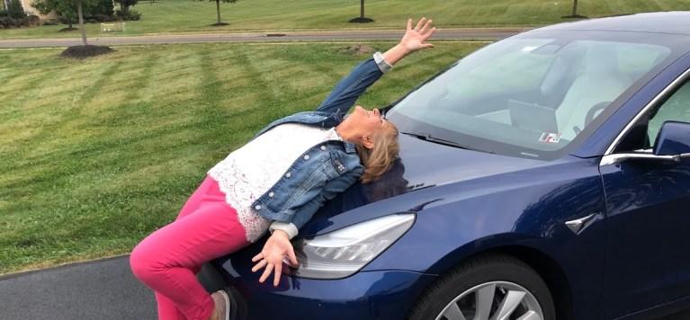 Sandra Andersson Google Review Photo Happy Over Tesla